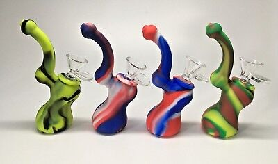 5.5 inch Silicon Bubbler Water Pipe Hookah with 14mm Glass Bowl Premium Quality