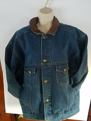 VTG Marlboro Country Store Denim Jean Jacket Genuine Leather Collar Size Large L