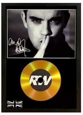 Robbie Williams Signed Photo - Gold Cd Disc Display Collectable Memorabilia