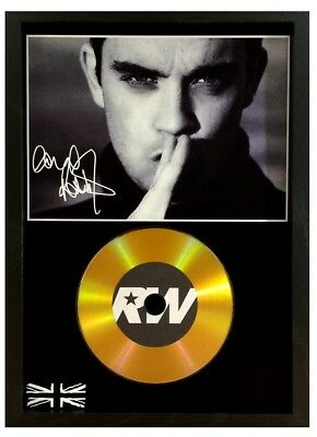 Robbie Williams Signed Photo - Gold Disc Display