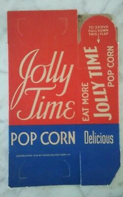 Vintage Early NOS 1939 Delicious Jolly Time Pop Corn Movie Theater Box