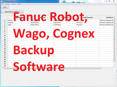 Fanuc Robot, Wago, Cognex Backup Software for 20 units -FTP Tool 2.5.0