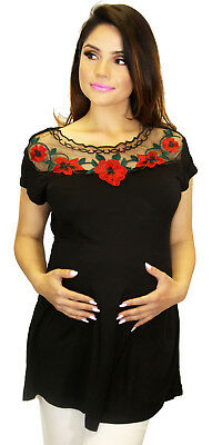 04cf4a7657e3b Black Frida Maternity Rose Embroidery Pregnancy Blouse Mexican Roses Solid  Top