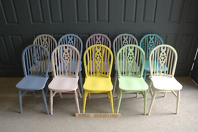 Painted Solid Wood Farmhouse WheelBack Chairs in Annie Sloan Colours
