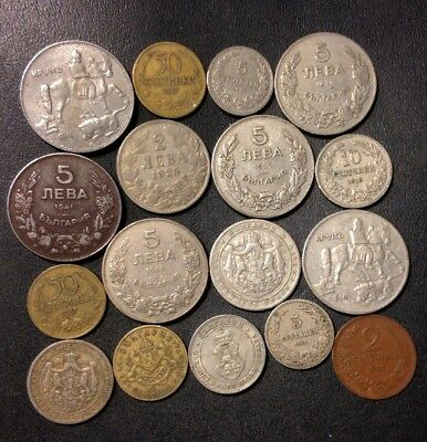 Old Bulgaria Coin Lot - 1912-1943 - 17 Uncommon Coins - Lot #M19