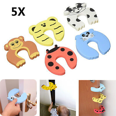 5xToddler Child Drawers Cupboard Security Safety Lock Cartoon Protector Doorstop