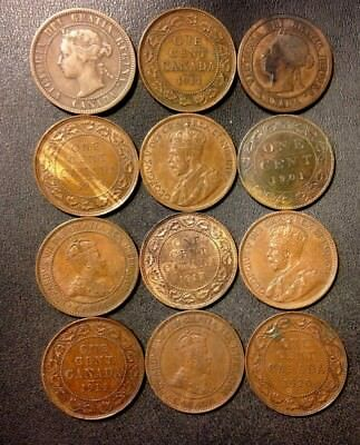 Old Canada Coin Lot - 1882-1920 - 12 Large Cents - Rare Coins - Lot #M19