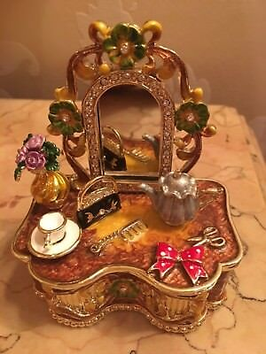 Trinket Box Dressing Table hand painted hinged and signed by Keren Kopal