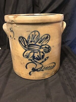 Estate Found Vintage Ornate Blue Decorated Floral Stoneware Crock W/ #3