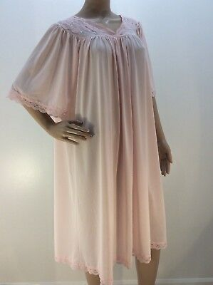 1X PINK 100% NYLON Nightgown Shadowline USA Flutter sleeve Lace Rose Plus 1X