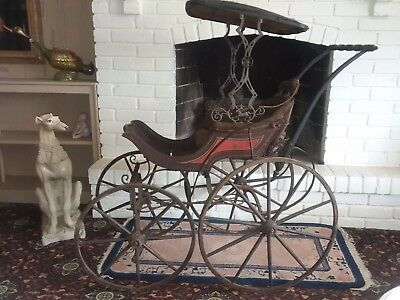 Fine Antique Victorian High Wheel Baby Buggy Doll Carriage W/ Horse Surrey Top