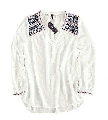 c9c5f6008c1e6a NYDJ - Womens S - NWT $108 - White/Blue Cross Stitch Embroidered Popover  Blouse