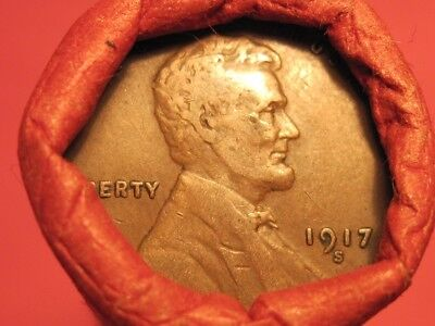 Mixed Roll of Teens & Twenties Lincoln Wheat Cents ~ 1917-S & 1929-S ends