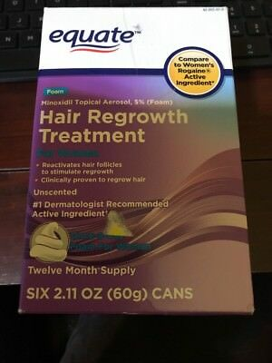 Equate Hair Regrowth Treatment Women Minoxidil Topical Aerosol 5% Foam 12 Month