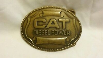Vintage 1982 **cat Diesel Power** Caterpillar Equipment Brass Buckle