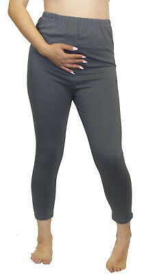 Gray Solid Maternity Leggings pregnancy Wear Bottoms Ankle Capri