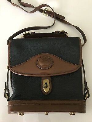 Vtg DOONEY & BOURKE Pebbled Navy Blue  Duck *SQUARE CARRIER* Shoulder Bag