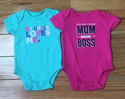 Old Navy Newborn Baby Girl Lot Of 2 Teal Pink One Piece Bodysuit Uncle Mom Short