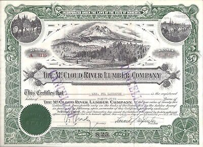 Stk-McCloud River Lumber Co. 1955 Green. Great vignette of Mt. Shasta, Ca