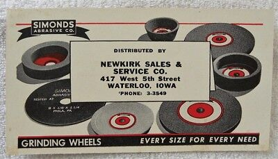 Old Simonds Abrasive-Grinding Wheels, Newkirk Sales,Waterloo,Iowa IA Ink Blotter