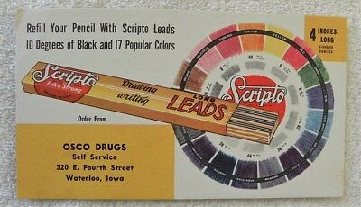 Vintage Scripto Pencil Leads, Osco Drugs, Waterloo, Iowa IA Ink Blotter