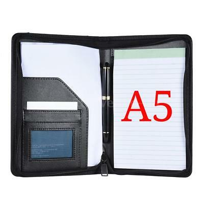 A5 Executive Organiser Zipped Notebook Leather Cover Card Holder Organiser W0T0