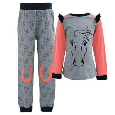 45% OFF ! Thomas Cook Equestrian Pony PJ Set Girls Grey/Neon Peach