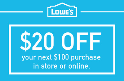 Lowes $20 Off $100 Discount Promo Code In-Store & Online Fast Delivery