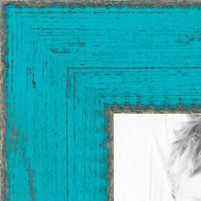 "ArtToFrames Custom Picture Poster Frame Light Green Turquoise 1"" Wide Wood"