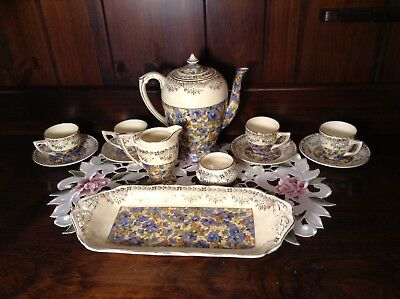 Spectacular Tea Set Ducal Crown Ware Floral Pattern Made In England