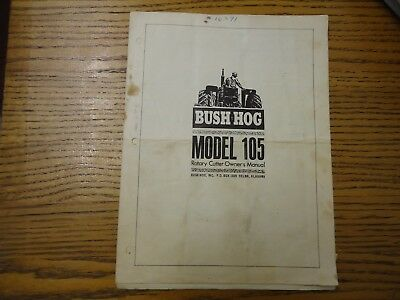 bush hog model 105 rotary cutter owner's manual  FREE SHIPPING