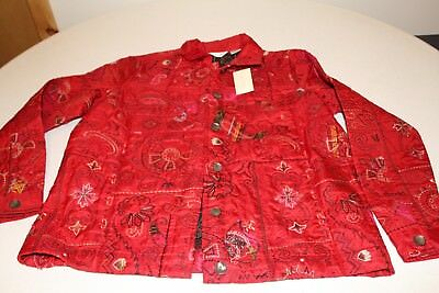 Laura Ashley Women's quilted red jacket new with tags size Petite medium