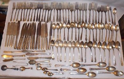 106 Pieces Vintage Silver Plate Flatware Knives Forks Spoons Lot for Crafts