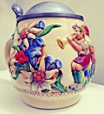 Colorful Reinhold Merkelbach German Ball Shaped Stein with Pewter Lid