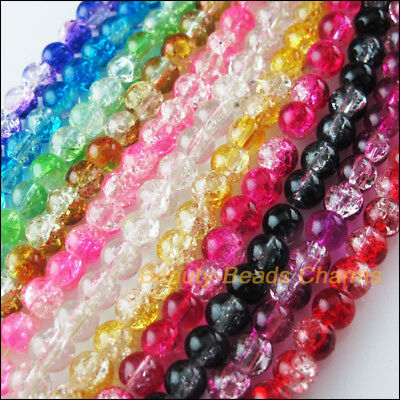 10Pcs Loose Crackle Round Ball Glass Spacer Beads Charms Mixed Colors 12mm
