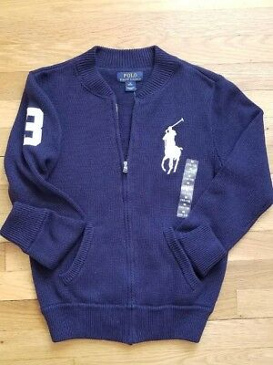 "BOYS RALPH LAUREN POLO NAVY ""BIG PONY #3"" SWEATER sz M (10-12)"