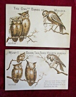 Rare Victorian Trade Cards Ad Fall 1882 Frear's Bazaar Owly Bands Of Wedlock