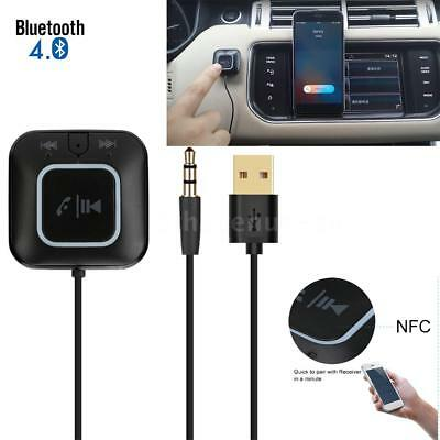 Bluetooth 4.0 Receiver Car 3.5mm AUX Audio Home Stereo Adapter NFC For Phone PC