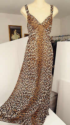 Sexy Vtg 70s Vanity Fair Silky Semi-Sheer Nylon-Antron III Leopard Nightgown-36
