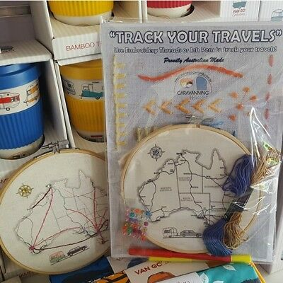 Track your Travels Caravan Embroidery Kit - Embroidery Hoop & accessories