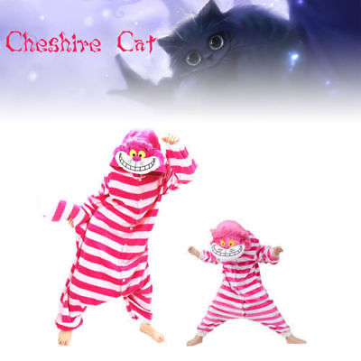 Cheshire Cat Cosplay Pajamas Fancy Costume Adult&Kids Onesie11 suit Sleepwear