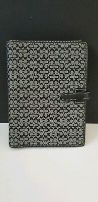 COACH Black CC Signature Agenda Day Planner with Address Book and Notepad