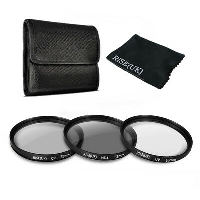 58mm UV CPL ND4 Polarizing ND Lens Filter Kit For Canon Nikon Sony Sigma Tamron