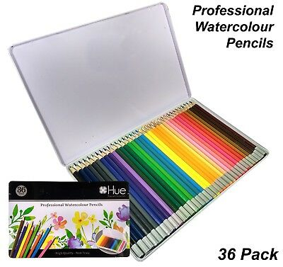 36 Pc Professional Watercolour Pencils Set in Metal Case Coloured Colouring