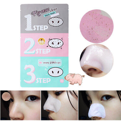 Beauty Korean Cosmetic Pig-nose Clear Remove Comedo Blackhead 3 Step Clean Kit