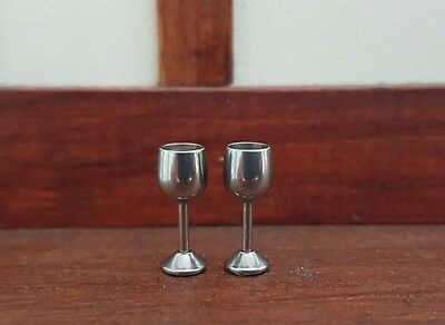 Miniature 2 silver metal goblets wine glasses 1:24th scale dolls house DH47