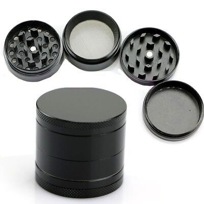 Tobacco Herb Spice Grinder 4 Piece Herbal Alloy Smoke Metal Chromium Crusher BLK