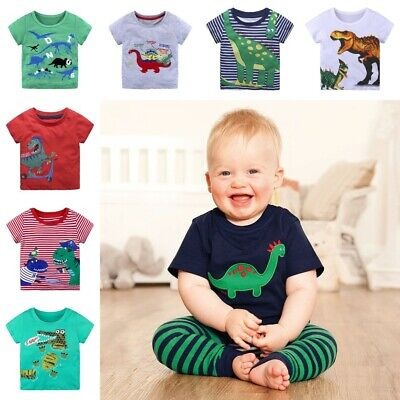 Boys Dinosaur T-Shirt Age 18 24 Mths 2 3 4 5 6 Yrs Kid Navy T-shirts Top Clothes