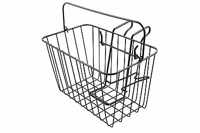 "Ammaco Front Steel Wire Mesh Bike Shopping Town Basket & Handle Black 14"" Wide"