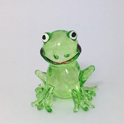 Clear Green Frog Figurine Miniature Amphibian Animal Hand Blown Glass
